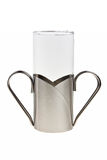A glass. A glass with steel handle Royalty Free Stock Image