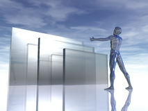 Glass. Chrome man figure with wide open arms and abstract glass building - 3d illustration Royalty Free Stock Images
