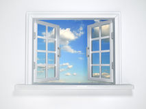 Glass. Window to sky - this is a 3d render illustration Royalty Free Stock Image
