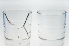 Glass_2. Broken glasses on white background Stock Photo