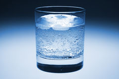 Glass. Cold Glass of Sparkling Mineral Water with Ice. With Clipping Path Royalty Free Stock Photos