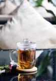 Glass. To bubble tea bag glass stock photo