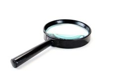 Glass. Black magnifying glass on a white background stock images