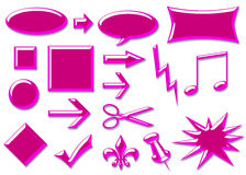 Glass 3d Buttons Hot Pink. Hot pink glass 3d web buttons and icons royalty free illustration