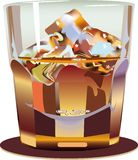 Glass. Glass whisky. A vector illustration Royalty Free Stock Photo