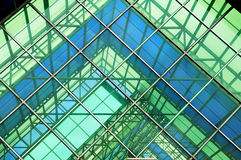 Glass. Contemporary office building blue glass wall detail Stock Photography