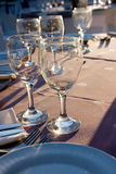 Glass. Wedding ceremony decoration glases on the table Royalty Free Stock Image