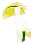 Glass of 7up with lemon and lime Stock Photos