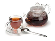 Glass A Cup With Tea And A Teapot Stock Photography