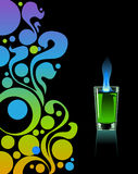 Glass of absinthe. Glass of absinthe on black background Stock Images