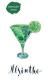 Glass of absinthe with lime Royalty Free Stock Photos