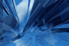 Glass Abstract. Glass / Glassy Abstract Background. Cloudy Sky Reflections. Blue Colors Royalty Free Stock Images