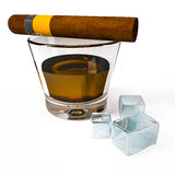 Glass of aged whiskey with cigar and ice cubes Royalty Free Stock Photo