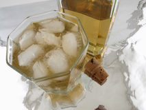 Glass of Alcohol with bottle and cork Stock Images