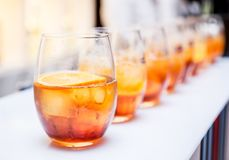 Glass of alcohol cocktail. Banquet service. royalty free stock photos