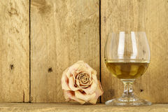 Glass of alcohol and dry rose Stock Photography