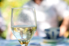 Glass of alcohol in summer, outdoors in the garden royalty free stock photos