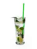 Glass of alcoholic drink with lime, mint and ice. Royalty Free Stock Photo