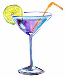 Glass of Alcoholic Drink. Watercolor illustration Stock Images