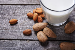 Glass of almond milk Stock Images