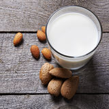 Glass of almond milk Royalty Free Stock Images
