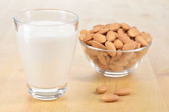 Glass of Almond milk on a table. Royalty Free Stock Photos