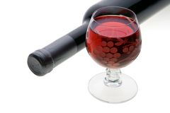 Glass And Bottle Of Red Wine Royalty Free Stock Photos