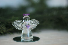 Glass angel decoration and Christmas tree branch. As background royalty free stock photography