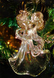 Glass angel playing harp christmas toy Stock Images