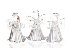 Glass angels isolated on white Stock Photography