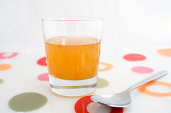 Glass of apple cider vinegar. A glass of raw, unfiltered apple cider vinegar, with mother Royalty Free Stock Images