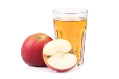 Glass of apple juice. On white background Royalty Free Stock Photography