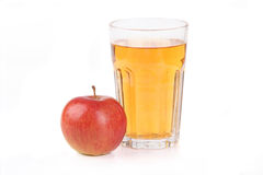 Glass of apple juice. On white background Royalty Free Stock Images