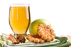 Glass of apple juice with cookies Royalty Free Stock Photography