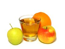 Glass of apple juice and fresh fruit isolated on w Stock Photography
