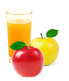 Glass of apple juice isolated on white Stock Photos