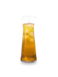 Glass of Apple Juice isolated on white background. Glass of Ice tea isolated on white background Stock Photography