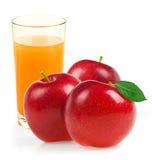 Glass of apple juice  on white Stock Photos