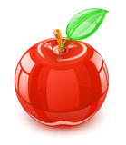Glass apple with leaf Stock Images