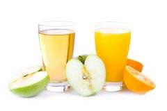 Glass of apple and orange juice Royalty Free Stock Photo