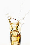 Glass of apple spritzer with ice cubes, close-up Royalty Free Stock Photos