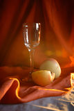 Glass And Apples in Front of a Red Cloth Stock Photo
