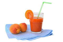 Glass of apricot juice Stock Photo