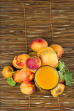Glass apricot juice. Royalty Free Stock Photo
