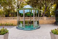 Glass arbor in seaside park Stock Images