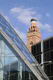 Glass architecture and church tower Royalty Free Stock Image