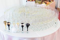 Glass arrangement for bride and groom royalty free stock photography