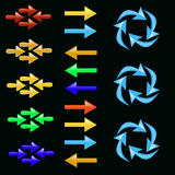 Glass arrows, colorful, straight and round. Stock Photography