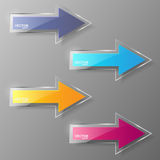 Glass arrows set. Vector illustration. Royalty Free Stock Photo
