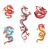 Glass asia hot dragon colored sign set Royalty Free Stock Photo